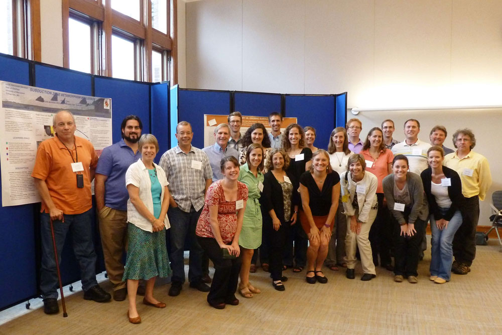 Figure 1.  MARGINS Mini-Lesson Team Members.  From left to right: Bob Stern, August Costa, Cathy Manduca, Steve Kuehl, Casey Moore, Kristin O'Connell, Dave Pearson, Jen Beck, Sarah Penniston-Dorland, Lonnie Leithold, Adam Hoffman, Kathy Surpless, Juli Morgan, Lisa Lamb, Sue Cashman, Ellen Iverson, Andy Goodliffe, Eliza Richardson, Jack Loveless, Anaïs Férot, Scott Bennett, Susi Haveman, Jeff Marshall, Chris Kincaid.