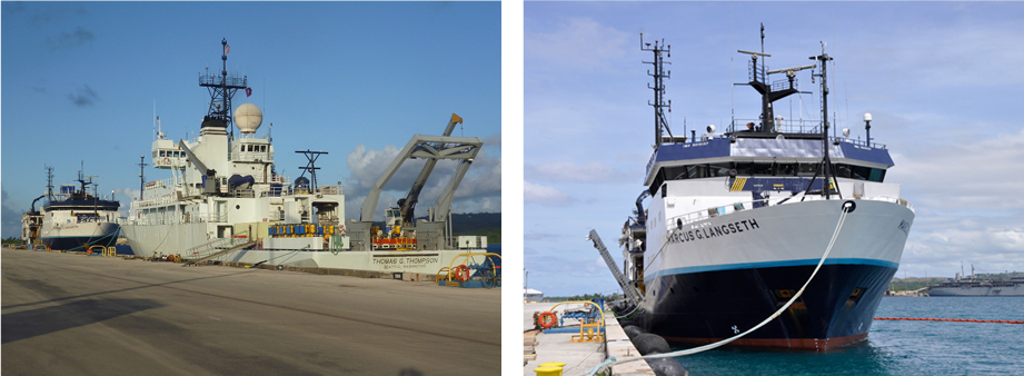 Figure 1. The two ships used for the Mariana seismic experiement:  (left) R/V Thomas G. Thompson, operated by the University of Washington; (above) R/V Marcus Langseth, operated by Columbia University.