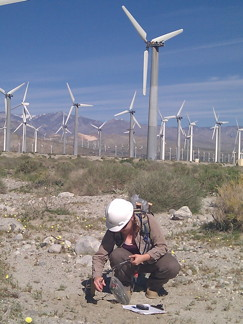 Figure 3. Deploying a Texan seismograph on a wind farm near Palm Springs.