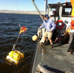 Figure 4. Deploying an OBS into the shallow Salton Sea.